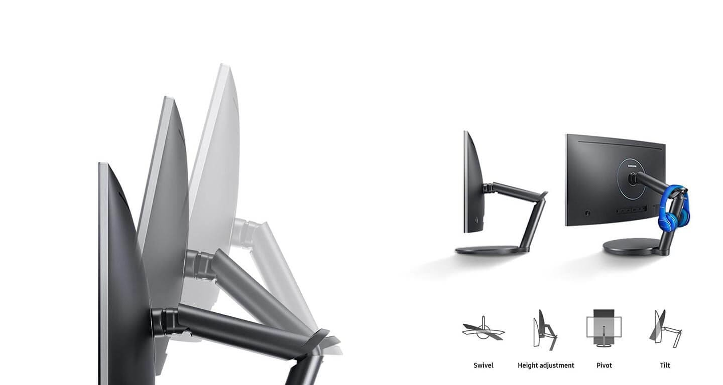 Solid and ergonomic dual-hinged arm for precision screen positioning