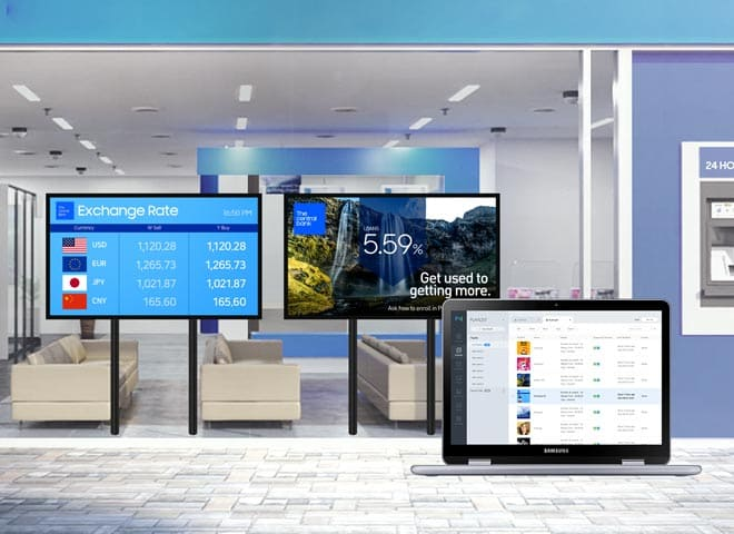 Samsung window display - digital window signage cost-efficient and fast with remote, real-time updates for multiple displays