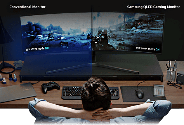 Image comparing conventional monitor's eye saver mode off and Samsung QLED gaming monitor's eye saver mode on.