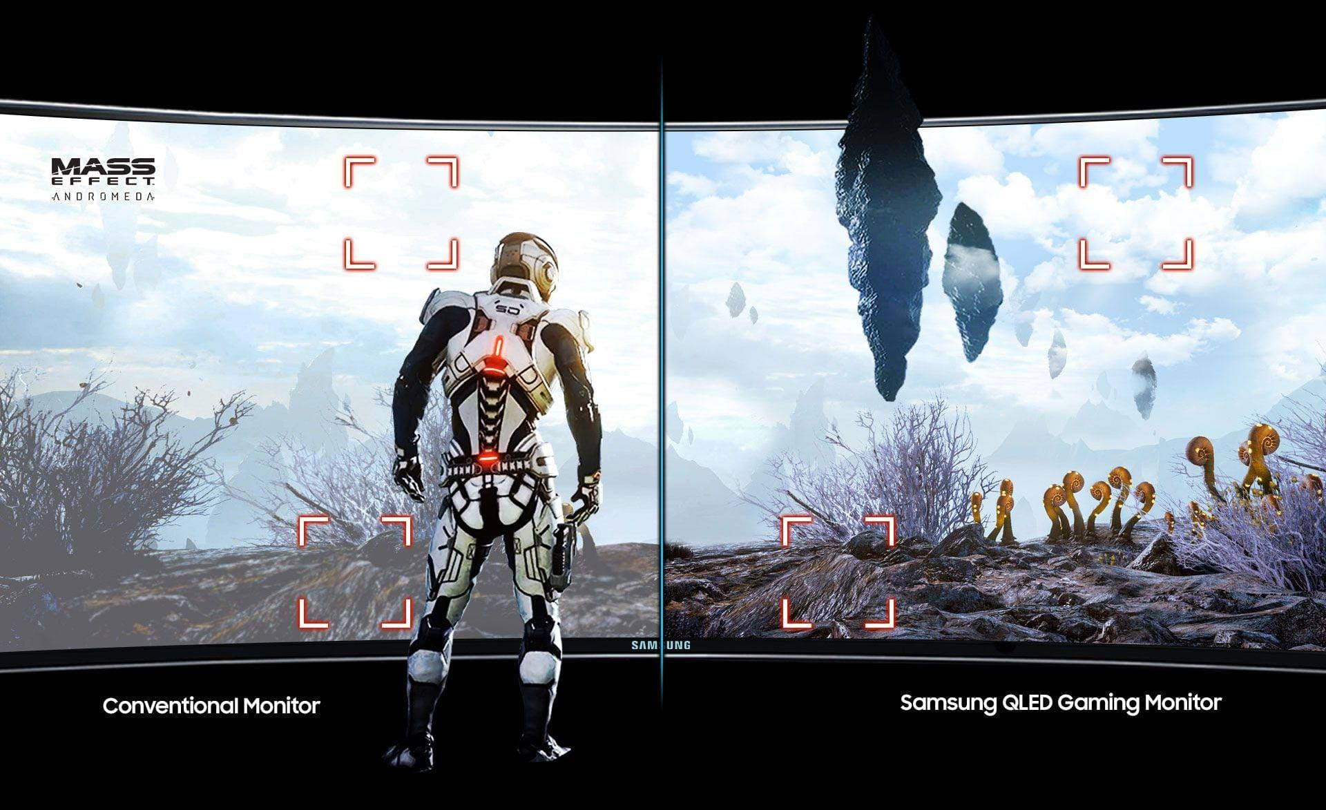 Still-cut image comparing conventional monitor with Samsung QLED Gaming monitor, which is featured by High Dynamic Range display, darker black as well as wider range of rich and saturated hues.