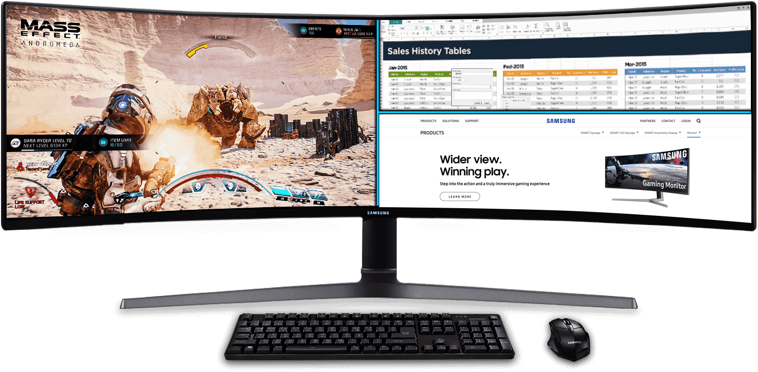 Still-cut image showing Samsung QLED monitor's multitasking feature, 32:9 panel which provide space to comfortably view documents, webpages, game and more all at once.