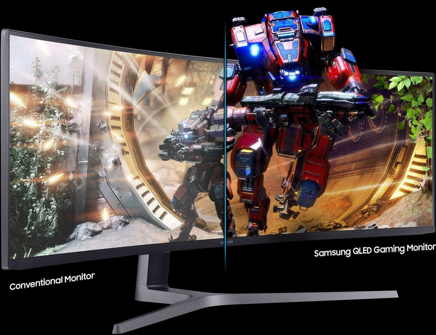 Still-cut image comparing conventional monitor with Samsung QLED gaming monitor, which is featured by new metal quantum dot