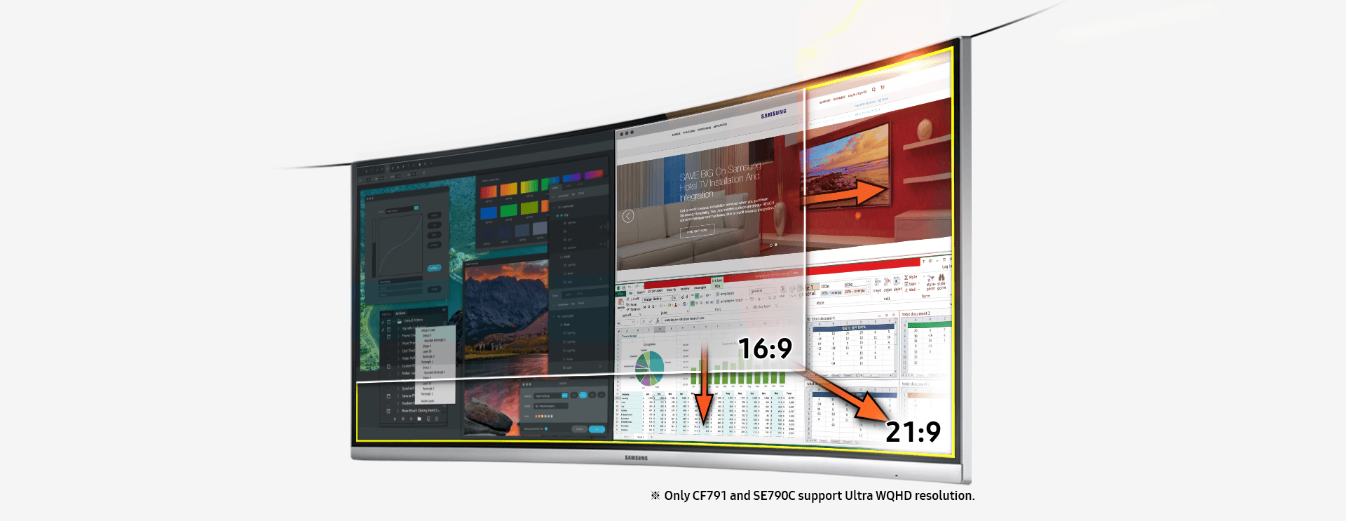 Image showing Samsung curved monitor, which has ultra WQHD 21:9 screen ratio compared to 16:9 of conventional monitor. ※ Only CF791 and SE790C support Ultra WQHD resolution.