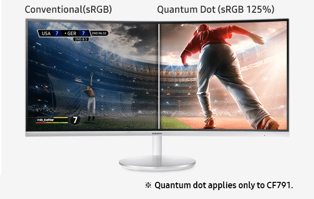 Image showing Samsung curved monitor, which covers 125% sRGB color space compared to  100% sRGB color space of conventional monitor. ※ Quantum dot applies only to CF791.