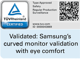 Certification mark of TUV Rheiland Certification mark for eye comfort of Samsung curved monitor SE790C. QR code to check validation code in TUV website