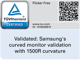 Certification mark of TUV Rheiland Certification mark for 1500R curvature of Samsung curved monitor SE791C. QR code to check validation code in TUV website