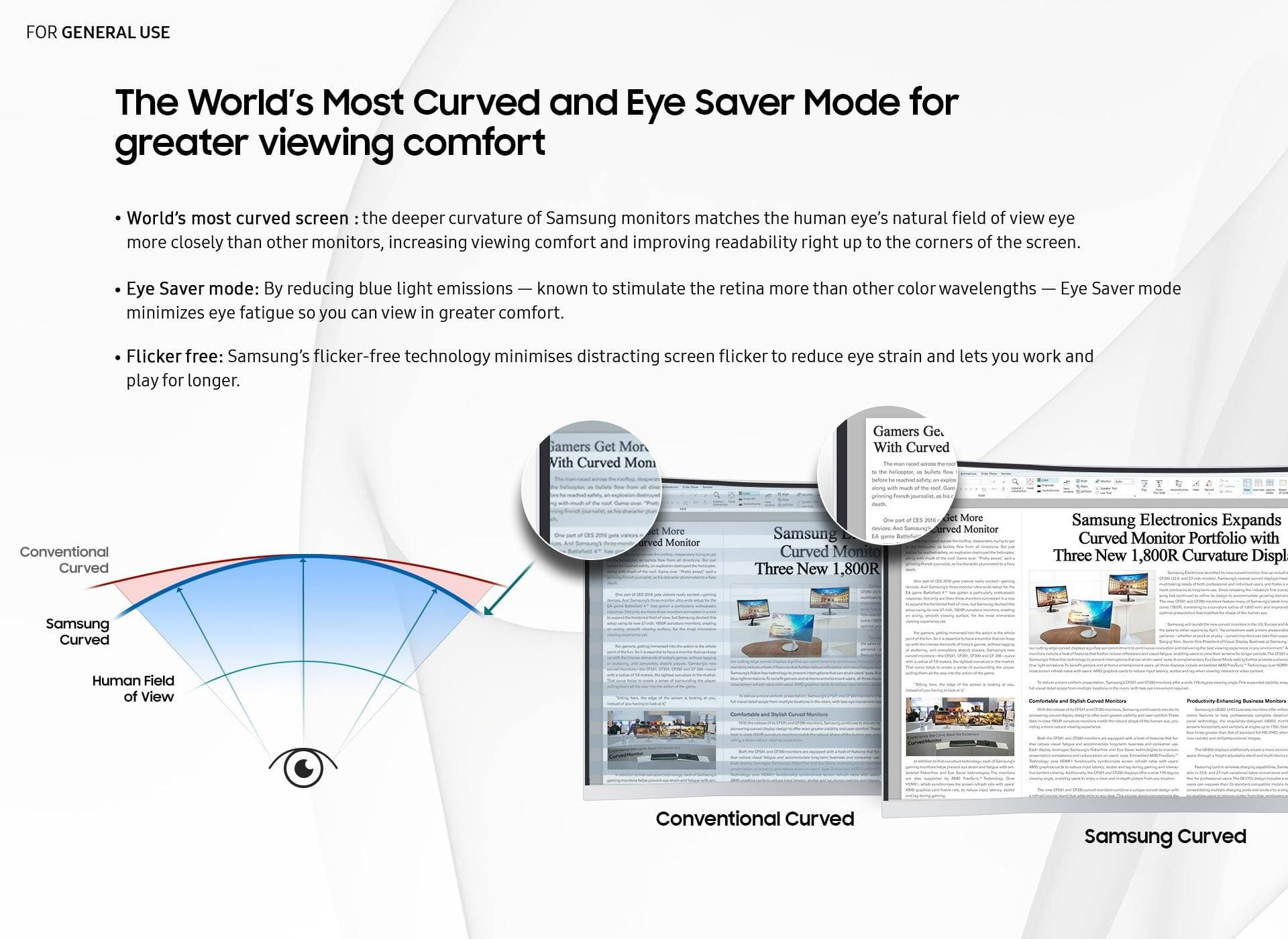 The World's Most Curved and Eye Saver Mode for greater viewing comfort