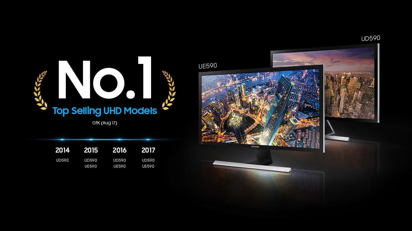 As an image that describes the most selected Samsung monitor ue590, ud590 in the ultra-high-definition market for four years in a row, No. 1 writes loudly and shows two large monitors. In 2014 UD590. In 2015 UD590, UE590. In 2016 UD590, UE590, In UD590, UE590