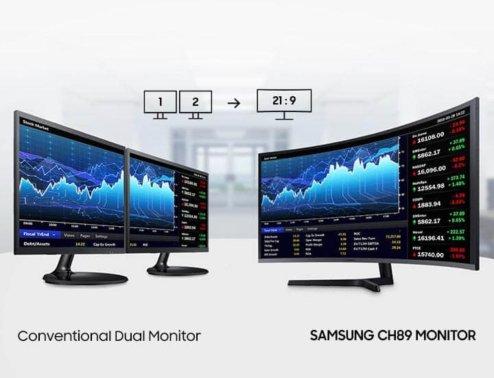 It shows a description of the wide-wide monitor that gives you the experience of using two monitors as one.On the left are two general monitors and a Conventional Dual Monitor text mark, on the right are Samsung CH89 Monitor Images and Text.