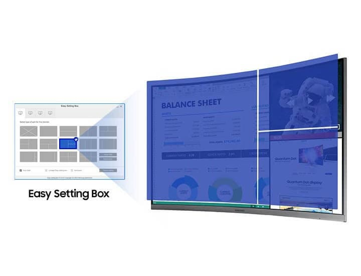 The image describes the software Easy Setting Box that can be used to split multiple screens. On the left is written Easy Setting Box.