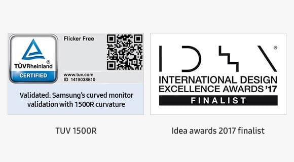 Image showing the award-winning Samsung High-Definition Monitor technology. TUV 1500R Certification marking and Idea awards 2017 finalist marking.